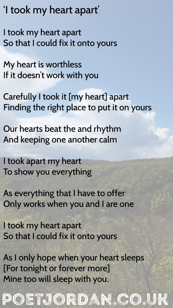 13 I took my heart apart Volume 40 Poet Jordan1000px