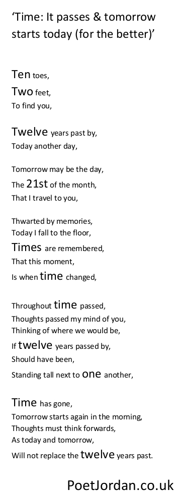 18. Time it passes and tomorrow starts today for the better Poet Jordan Volume 30