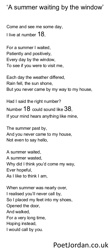19. A summer waiting by the window Poet Jordan Volume 30