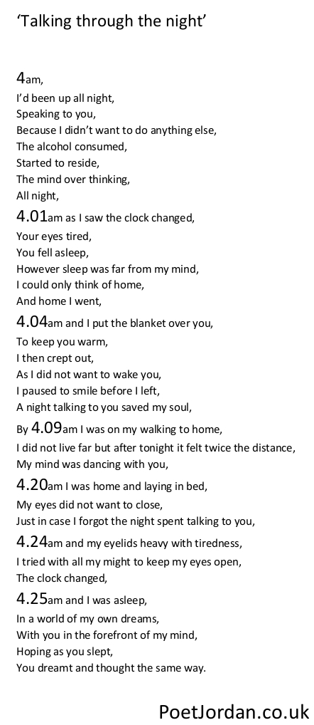 21. Talking through the night Poet Jordan Volume 30