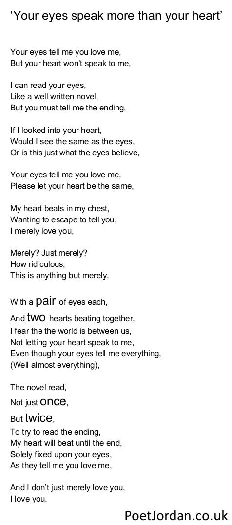 32. Your eyes speak more than your heart Poet Jordan Volume 30