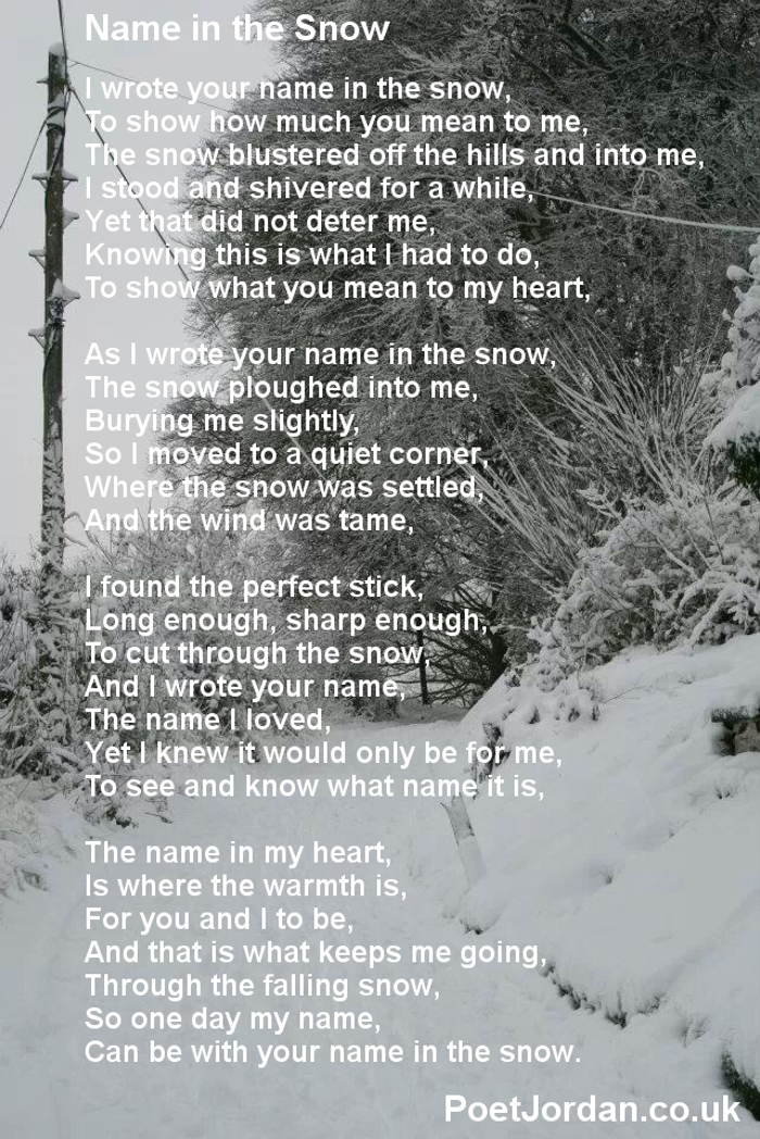 8 Name in the Snow Poet Jordan Volume 23